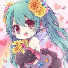 Image about anime in Vocaloid 🎵 by Gracyn H on We Heart It Loli Kawaii, Kawaii Chibi, Cute Chibi, Anime Chibi, Anime Art, Hatsune Miku, Vocaloid Piko, Kawaii Drawings, Cute Drawings