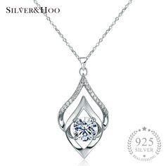 Big Sale $6.75, Buy SILVERHOO Women Elegant 925 Sterling Silver Pendant Necklace Fine Jewelry Wedding Party Accessories with Shining Zircon