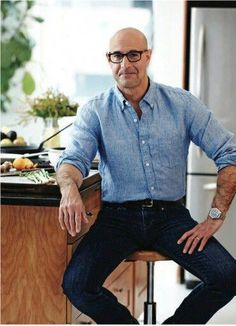 Stanley Tucci's Gluten-Free Quinoa With Pomegranate & Pistachio from AARP The Magazine Sharp Dressed Man, Well Dressed Men, Fashion Over 40, Look Fashion, Daily Fashion, Street Fashion, Fashion Outfits, Older Mens Fashion, Bald Men Fashion