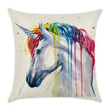 Rainbow Unicorn Zebra Animal Linen Pillow Case Throw Cushion Cover Home Decor B
