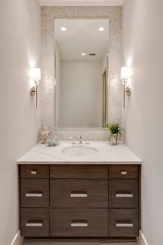 Luxury Ranch Homes Powder Room Transitional With Half Wall Tilting Bathroom Mirrors