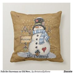 Folk Art Snowman on Old Newspaper Throw Pillow Merry Christmas, Christmas Pillow, Christmas Snowman, Magical Christmas, Christmas Gifts, Gold Pillows, Diy Pillows, Custom Pillows, Cushions