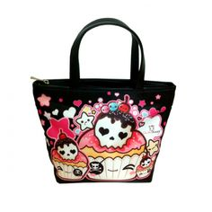 Kawaii skull cupcakes - Bucket bag - BB2 | ChibiBunny - Bags & Purses on ArtFire