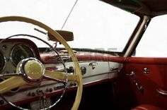 antique cars: Classic Car Red and White Dashboard