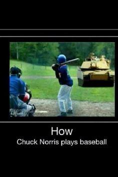 How chuck norris plays baseball funny baseball, chucky, funny pins, chuck norris memes Chuck Norris Memes, Chuck Norris Now, Funny Images, Funny Pictures, Baby Pictures, Animal Pictures, Funny Jokes, Hilarious, Siri Funny