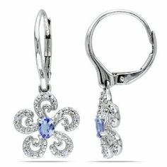 10k White Gold 1/3ct TGW Tanzanite and Diamond Dangle Earrings (0.06 Cttw, G-H Color, I1-I2 Clarity) - http://www.wonderfulworldofjewelry.com/jewelry/earrings/10k-white-gold-13ct-tgw-tanzanite-and-diamond-dangle-earrings-006-cttw-gh-color-i1i2-clarity-couk/ - Your First Choice for Jewelry and Jewellery Accessories