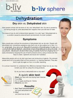 Dry skin vs. Dehydrated skin    Most people confuse with the terms of 'dry' and 'dehydrated' skin. Dry skin is caused by not having enough oil, while dehydrated skin happens when your skin lack of water.    The cause of truly dry skin is internal factor  get rid of/remove   get firmer skin  cellulite fast/now  remove thigh cellulite  the cellulite diet  exercise and cellulite