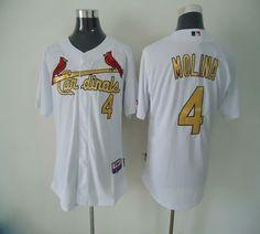 aa26fbafc Cardinals #4 Yadier Molina White(Gold No.) Cool Base Stitched MLB Jersey