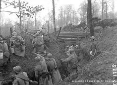 Senegalese infantrymen (tirailleurs sénégalais) repulsing an attack in the Roderen Forest (1). Alsace, North-Eastern France, April-May 1918.