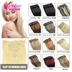 yestar hair form the aliexpress, the best clip in human hair extensions, we have 28 colors in stock, believe that you can choose the one more suit for you