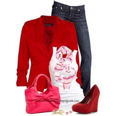 Red, White & Pink, created by shannonmarie-94 on Polyvore