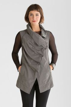 """""""Jenny Vest"""" created by designer Yong Kim  of Comfy U.S.A. Take a new angle on effortless dressing: this vest is cut from a lightweight memory fabric that retains its crisp shape and smooth appearance no matter what. #winter2014"""