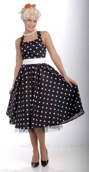 Adult 50's Cutie Black/White Polka Dot Dress - 50's Sock Hop Costumes - Candy Apple Costumes