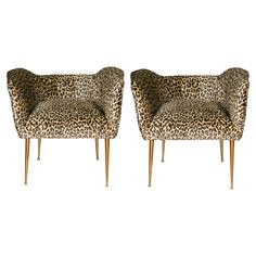Nice Pair of Vintage Leopard Fabric Armchairs | From a unique collection of antique and modern armchairs at https://www.1stdibs.com/furniture/seating/armchairs/