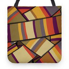 Doctor Who Scarf Pattern Tote Bag Cute Tote Bags, Reusable Tote Bags, Doctor Who Scarf, Tote Pattern, Poplin, Hand Sewing, Original Art, Purses, Design