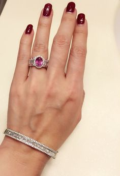 3ct pink sapphire with baguette diamond ring , match with baguette and round diamonds bangle