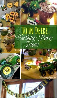 John Deere Birthday Party and Tractor Birthday Party Ideas for the Best Themed Birthday Party Ever 3 Year Old Birthday Party Boy, 1st Boy Birthday, 3rd Birthday Parties, Birthday Ideas, Birthday Decorations, Tractor Birthday Cakes, John Deere Party, Party Themes For Boys, Tractor Party Ideas