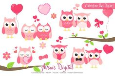 Valentine Owl Clipart - Vector. Printables. $3.00
