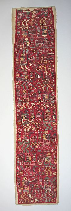 Tunic Fragment  Date:     7th–8th century Geography:     Peru Culture:     Moche-Wari Medium:     Camelid hair, cotton