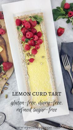 Gluten-Free Lemon Curd Tart   Dairy-Free, Refined Sugar-Free via @eyecandypopper