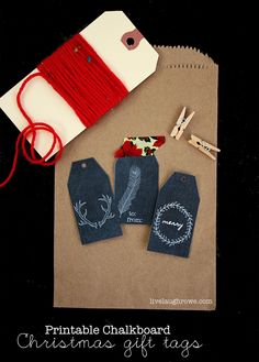 Printable Christmas Gift Tags with livelaughrowe.com