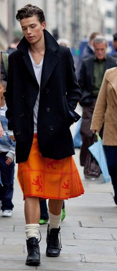 orange and high socks and masculine