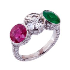 Ruby Diamond Emerald Ring | From a unique collection of vintage cocktail rings at http://www.1stdibs.com/jewelry/rings/cocktail-rings/
