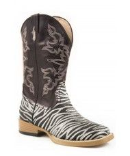 Kids Unisex Genuine Leather Western Rodeo Cowboy Side Zipper Boots Black-4.5 Toddler Sizes