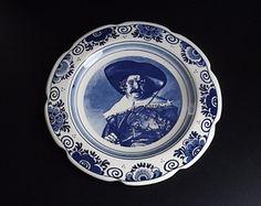 Vintage Blue and White Tile Trivet Handpainted by PortRepublic