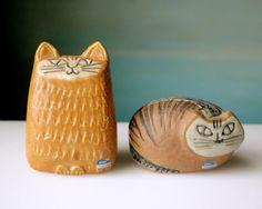 Vintage Lisa Larson cat figurines, for Gustavsberg Sweden