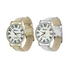 @Overstock - Keep up with the latest fashion when you wear a Geneva watch  Women's watch features a round face and a metallic simulated leather strap  Timepiece is available in silver and gold strap color optionshttp://www.overstock.com/Jewelry-Watches/Geneva-Platinum-Womens-Round-Face-Watch/4400984/product.html?CID=214117 $15.72