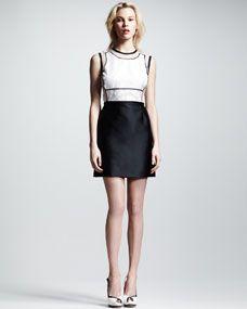 Victoria by Victoria Beckham Organza-Top Cutout Dress