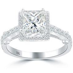 2.45 Carat F-SI3 Princess Cut Diamond Engagement Ring 18k White Gold Pave Halo #LioriDiamonds #DiamondEngagementRing