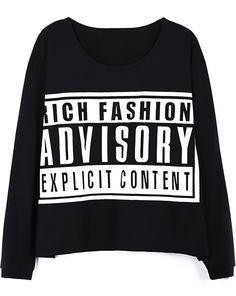 Black ASVISORY Print Long Sleeve Loose T-shirt - Sheinside.com