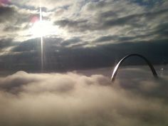 Top of the STL Arch. Photo taken from the 38th floor of a building downtown STL.
