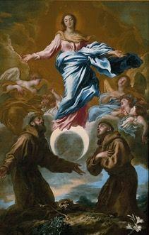 """Giovanni Castiglione """"Grechetto"""" (1609-1664). Minneapolis Institute of Arts. USA (1649). Inmaculada Concepción con San Francisco de Asís y San Antonio de Padua."""