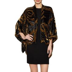 Anna Sui Women's Northern Lights Metallic Burnout Velvet Cape - Size... ($259) ❤ liked on Polyvore featuring outerwear, multi, anna sui, cape coat and velvet cape
