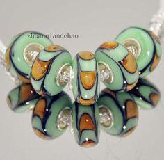 1 glass European charm bracelet bead green brown art deco murano nouveau flapper