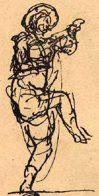 Shakespeare's Actors. A fiddler as sketched by Inigo Jones. From inigo Jones and Ben Jonson 1853.