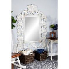 Litton Lane Rectangular Acanthus-Style Antique White Wall Mirror 35471 - The Home Depot White Vanity Mirror, Baroque Mirror, White Wall Mirrors, Antique Frames, Acanthus, Flourishes, Cottage Style, Centerpiece, Layers