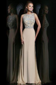 Stunning Prom Dresses Champagne Beaded Bodice And Back Sheath Scoop Sweep/Brush Chiffon