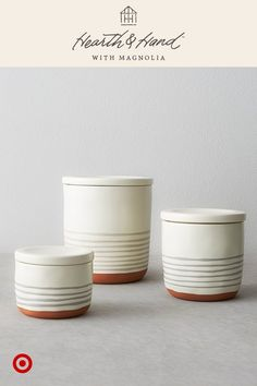 These stoneware canisters from the latest collection stack & store ingredients, beautifully. Kitchen Items, Kitchen Decor, Country Farmhouse Decor, Country Chic, Chip And Joanna Gaines, Hearth And Home, Cozy House, Home And Living, Home Kitchens