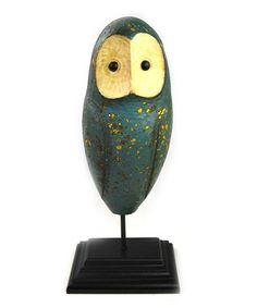 Large Blue Owl Figurine