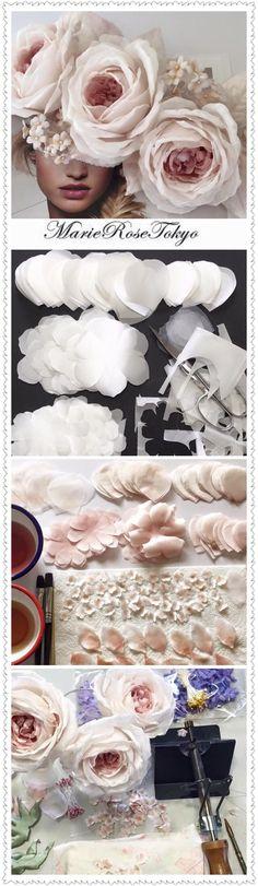 Trendy Ideas for flowers wedding paper rose tutorial Crepe Paper Flowers, Felt Flowers, Diy Flowers, Fabric Flowers, Wedding Flowers, Flower Ideas, Diy Paper, Paper Crafts, Diy Fleur