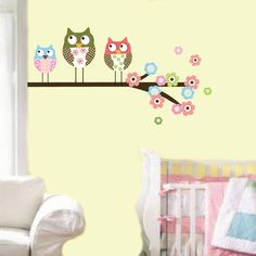 Wall art for baby girl room concept Owl in tree1