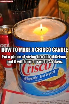 99 more Hacks to make your life easier - Crisco candle could be great for hurricane prep.