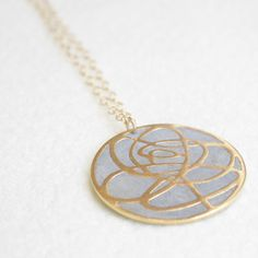 Rose Necklace Gold Plate now featured on Fab.