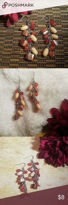 """Natural Wood & Shell Cluster Drop Earrings 2.5"""" beautiful natural wood & shell cluster drop earrings with silver fishhook backs & rubber stoppers. Light tan natural wood bead & salmon colored shell. Item#E1444 *25% OFF BUNDLES OF 3 OR MORE ITEMS* REASONABLE OFFERS ACCEPTED! *ALL JEWELRY IS NWT/NWOT/UNUSED VINTAGE* BUY WITH CONFIDENCE~TOP 10% SELLER, FAST SHIPPING, 5 STAR RATING, FREE GIFT(S) w/MOST ORDERS! Jesi's Fashionz  Jewelry Earrings"""