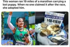 This woman ran 19 miles of a marathon carrying a lost puppy. Sweet Stories, Cute Stories, We Are The World, In This World, Cute Baby Animals, Funny Animals, Cute Puppies, Cute Dogs, Amor Animal