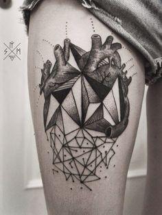 Black work heart. Tattoo